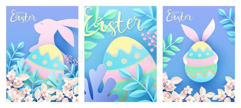 设置与逗人喜爱的滑稽的兔宝宝,春天自然,花,华丽复活节彩蛋的复活节卡片 向量例证