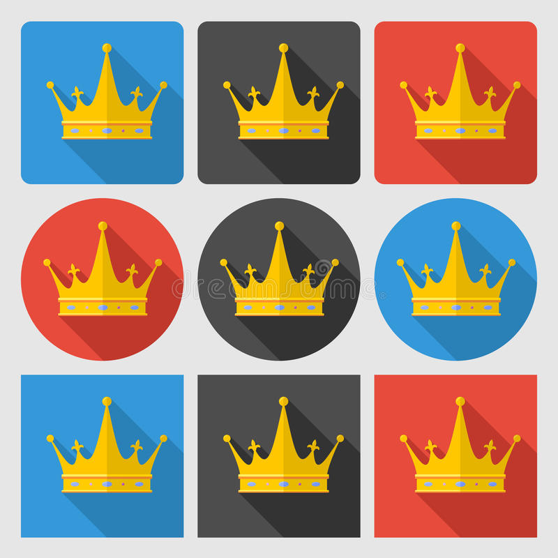 设置与金冠在周围和正方形的象 库存例证
