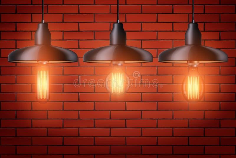 设置与金属树荫的爱迪生电灯泡 库存例证