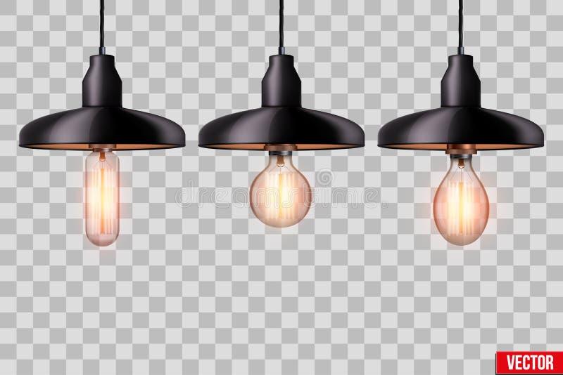 设置与金属树荫的爱迪生电灯泡 皇族释放例证