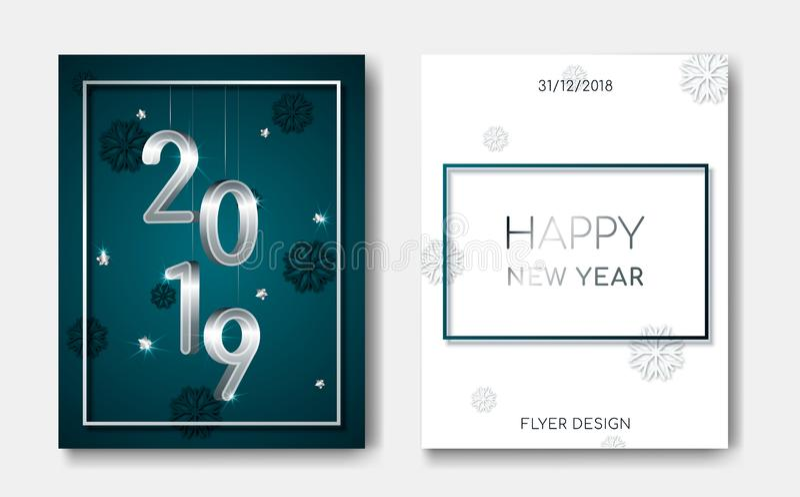 设置与银色3D第的2位新年快乐夜飞行物横幅2019年,发光的星,在圣诞节的轻的闪光 皇族释放例证