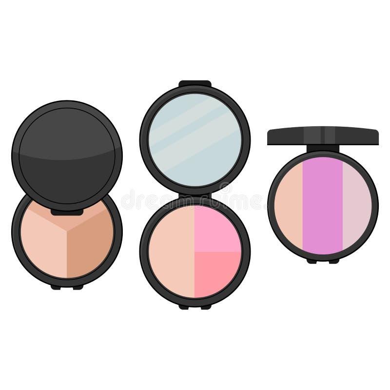 设置与镜子的三明亮的眼影 库存例证