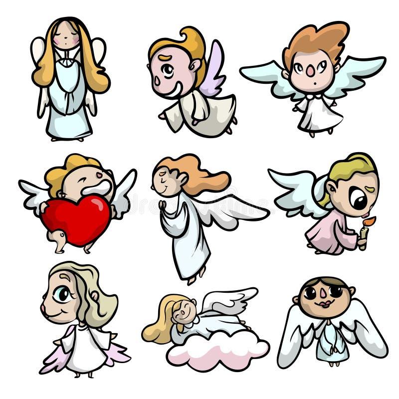 设置与面孔和光翼的逗人喜爱的孩子天使 皇族释放例证