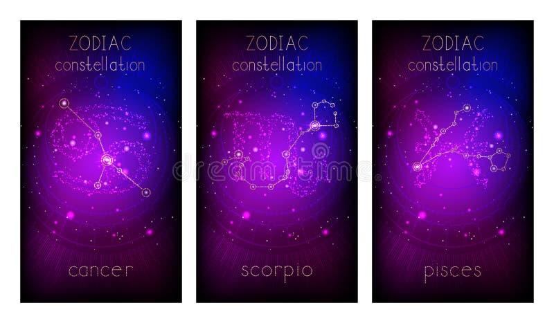 设置与黄道十二宫的三副横幅、占星术星座和抽象几何标志反对满天星斗的天空 向量例证