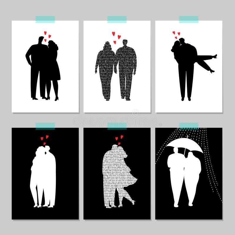 设置与黑剪影爱夫妇的卡片 库存例证
