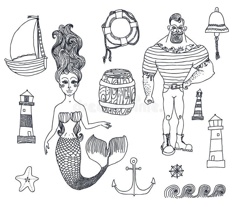 设置与水手,灯塔,美人鱼,船和 库存例证