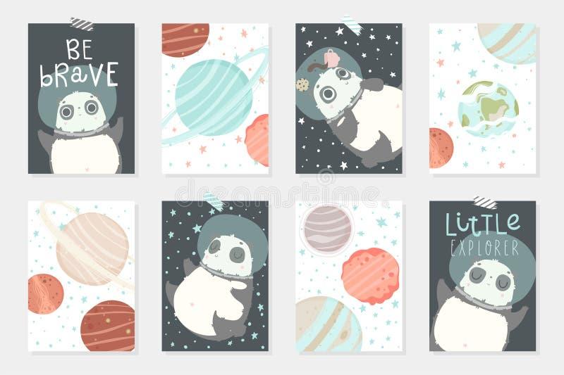 设置与8 redy使用与逗人喜爱的熊猫宇航员的卡片在盔甲,行星,星 向量例证