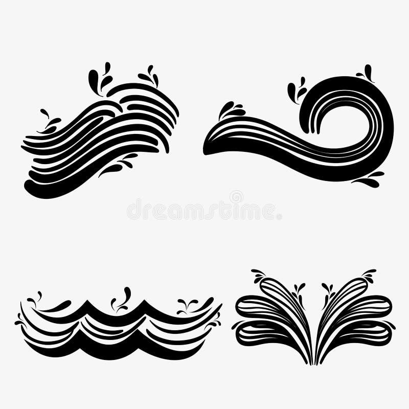 设置与differes形状设计的海浪 向量例证