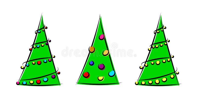 设置与xmas装饰的美丽的风格化传染媒介圣诞树 向量例证