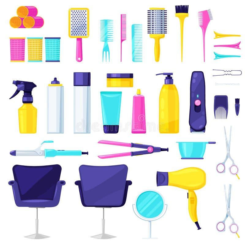 设置专业美发师和理发师设备工具的汇集 免版税库存图片