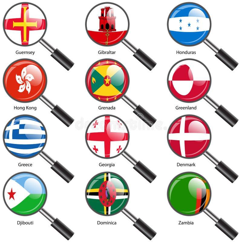 设置世界主权国家放大镜旗子。 库存例证