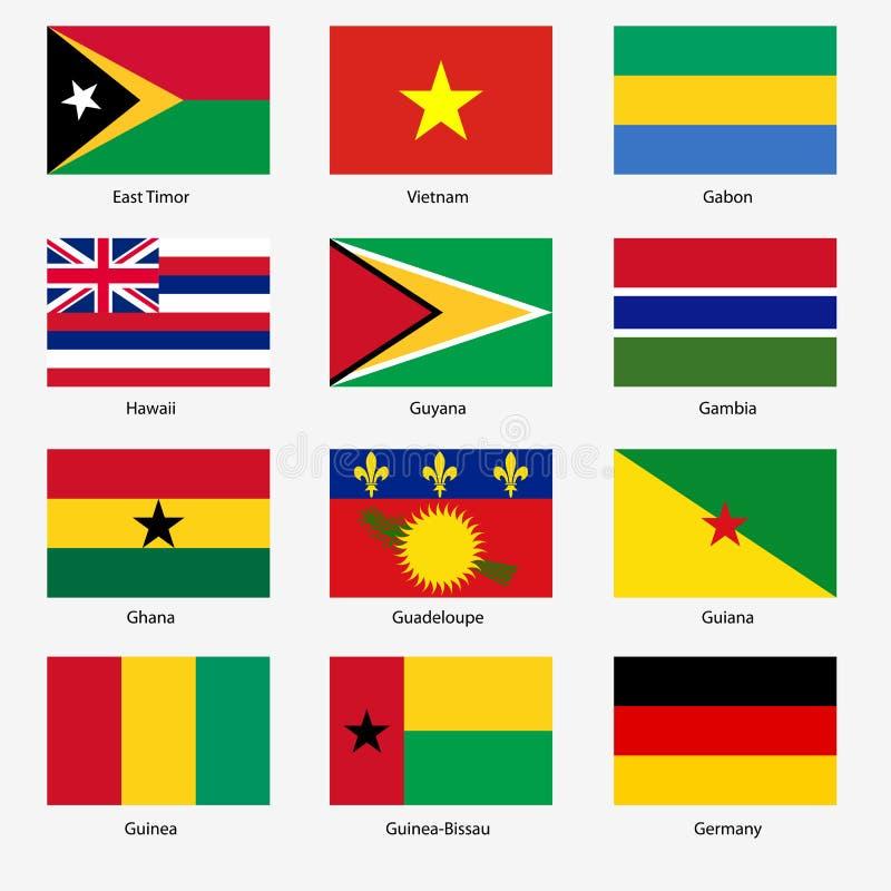 设置世界主权国家旗子。传染媒介 向量例证