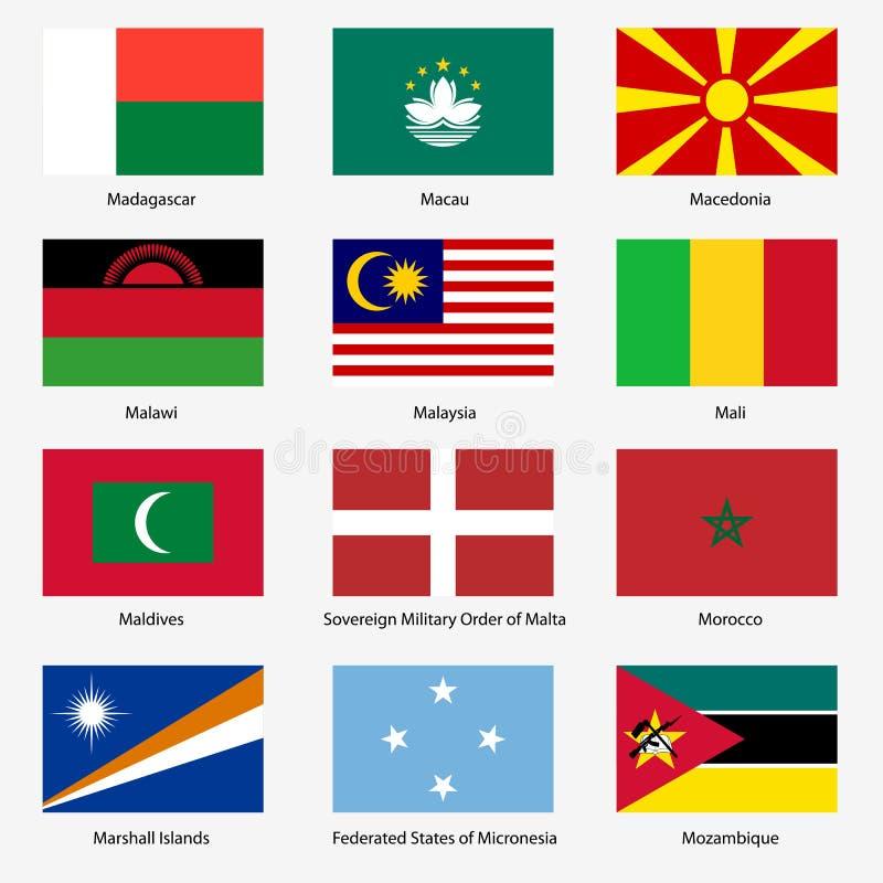 设置世界主权国家旗子。传染媒介 库存例证