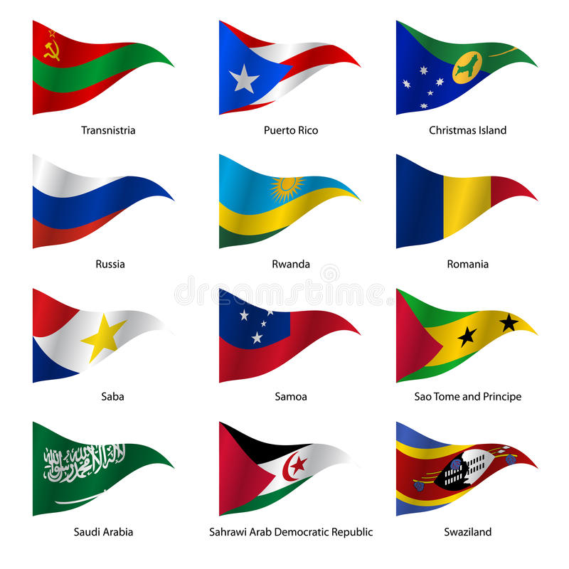 设置世界主权国家旗子 向量 皇族释放例证