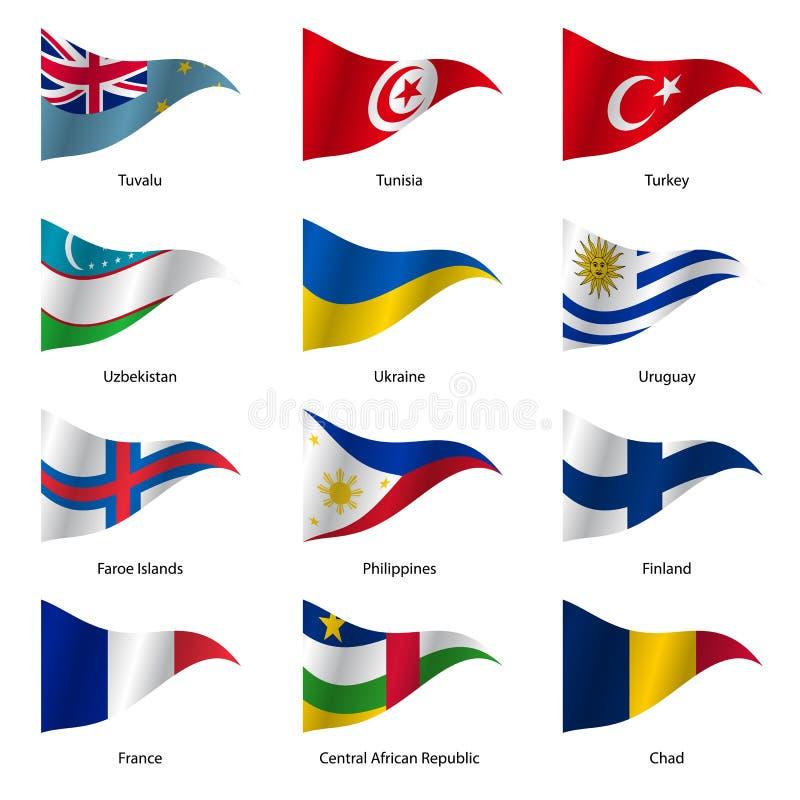 设置世界主权国家旗子 向量 库存例证