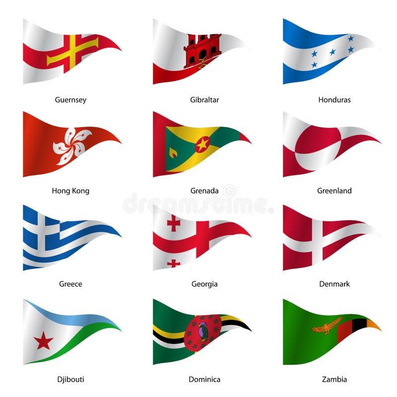 设置世界主权国家旗子 向量 向量例证