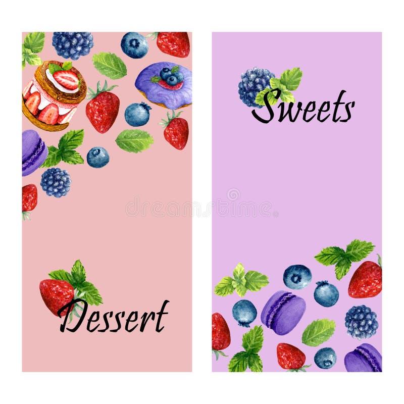 设置两副垂直的横幅用水彩甜点心、薄菏和地方文本的 模板用多福饼、蛋糕和莓果 向量例证
