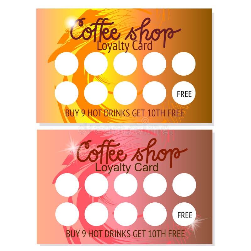 设置两咖啡馆热的饮料模板的忠诚卡片 o ?? 免版税库存照片