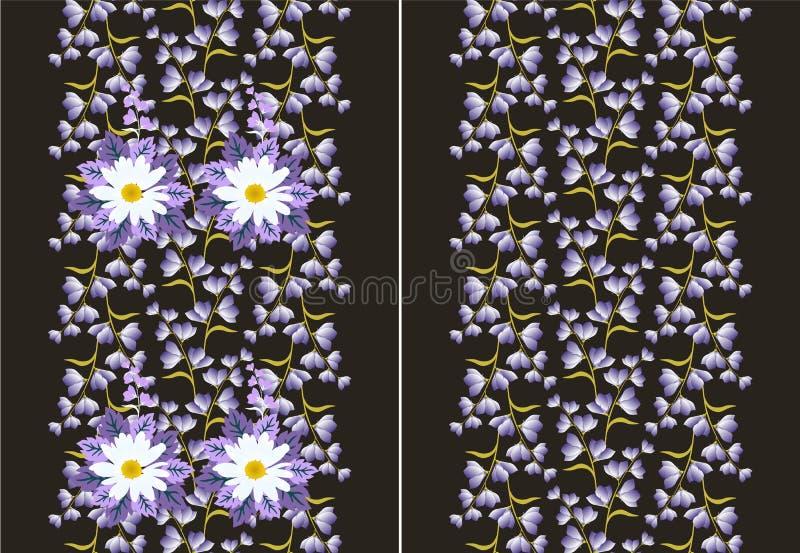 设置两在传染媒介的无缝的花卉边界 向量例证