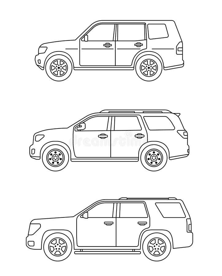 设置个人汽车 设置在平的样式的汽车 越野suv 侧视图 库存例证