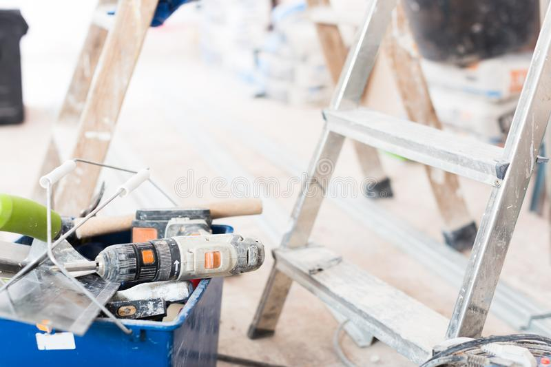 设置为修理前提的建筑工具 库存照片