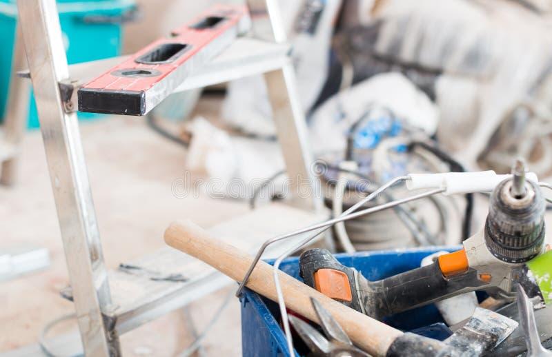 设置为修理前提的建筑工具 免版税库存照片