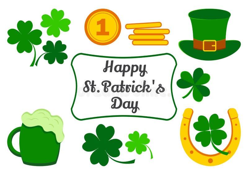 设置为圣帕特里克节 假日的标志 三叶草,硬币,帽子,马掌,啤酒 ?? 向量例证