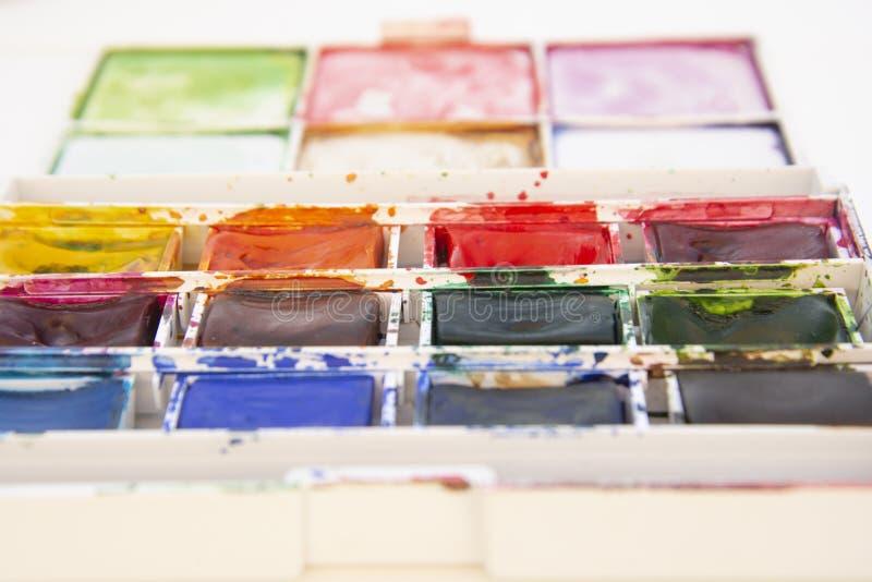 设置为绘画特写镜头隔绝的水彩油漆 r 艺术,与拷贝空间的创造性的背景 免版税库存图片