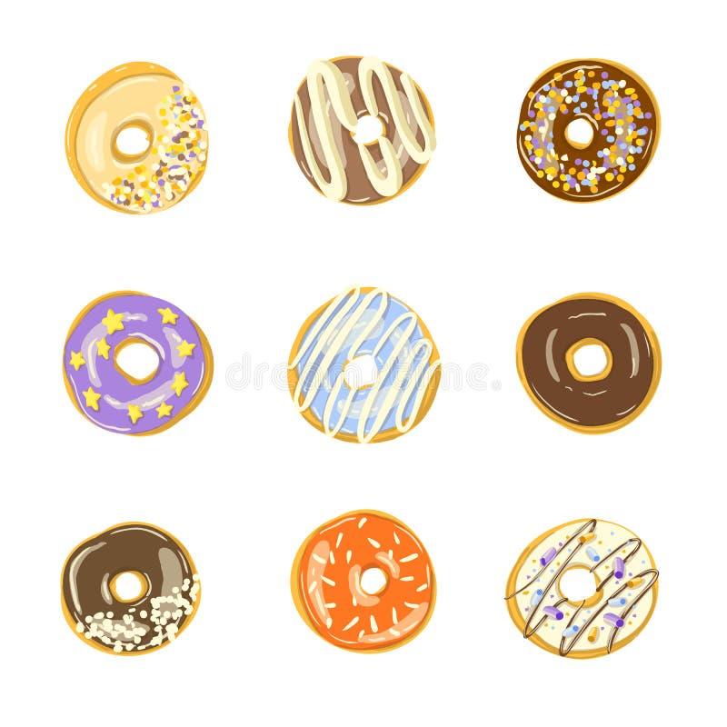设置九个给上釉的油炸圈饼 也corel凹道例证向量 库存例证