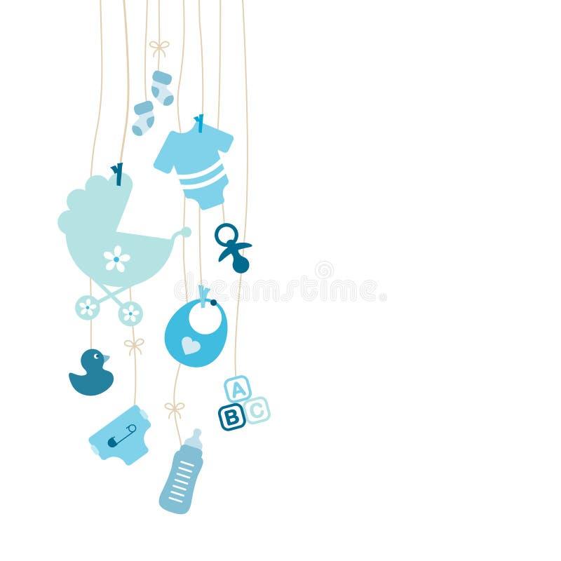 设置九留下垂悬的婴孩象男孩蓝色 向量例证