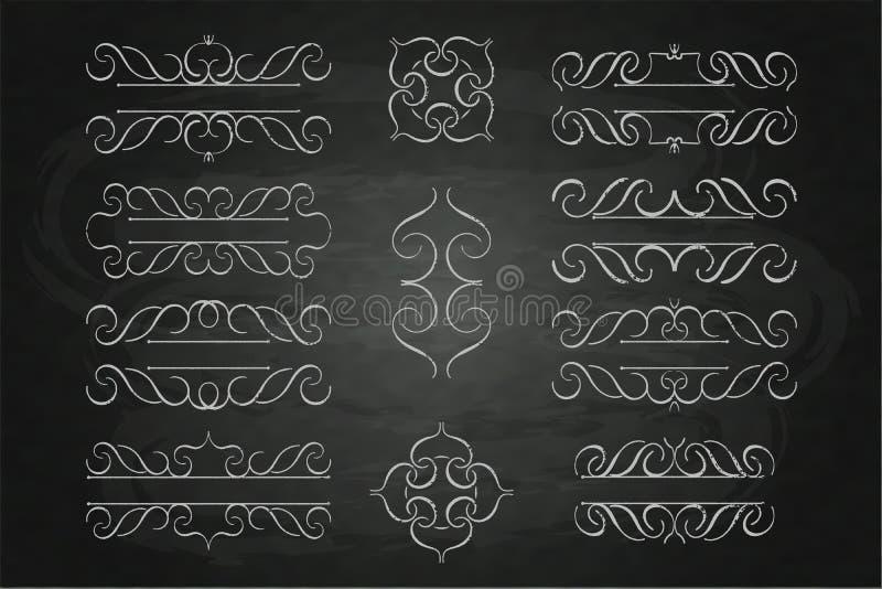 设置书法组合图案花卉设计,葡萄酒样式在黑板的商标白垩 库存图片