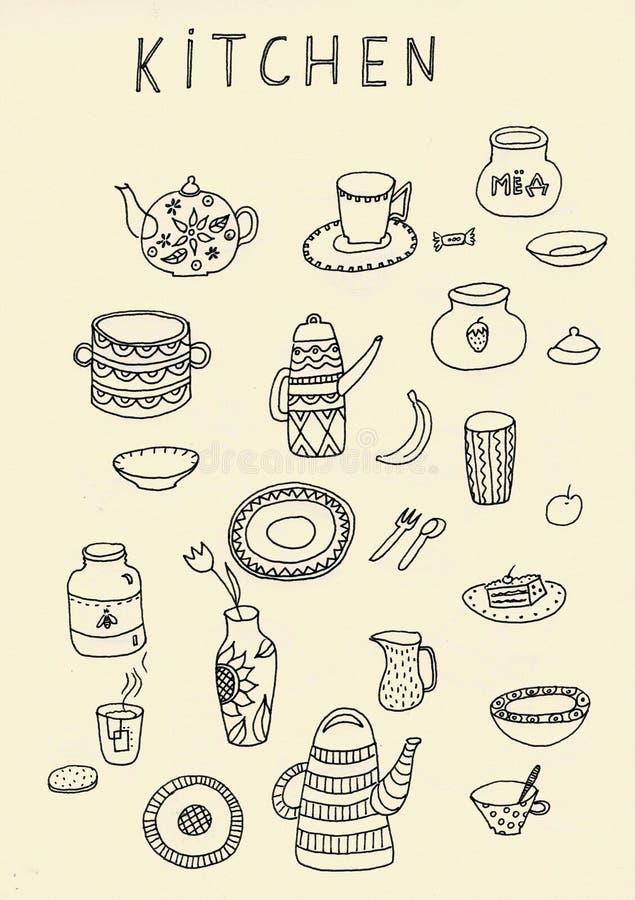 设置乱画在黑色的厨房用具概述被隔绝在白色背景 皇族释放例证