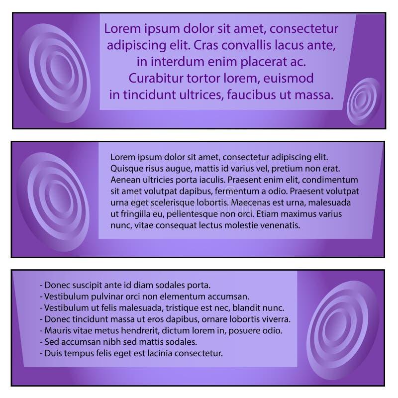 设置事务的,文本在紫色背景的Lorem Ipsum三块现代肖象画法模板 库存例证