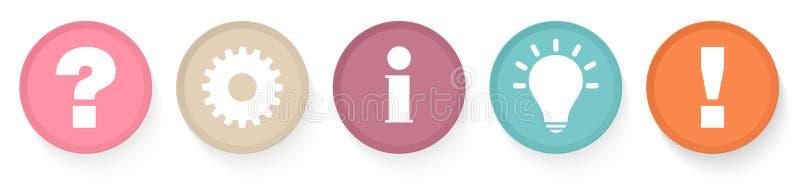 设置五个按钮对工作信息想法表示怀疑并且回答减速火箭的颜色 库存例证