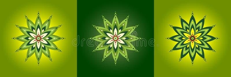 设置五颜六色的坛场,与生动,饱和的颜色的抽象花纹花样 装饰回合装饰样式,传染媒介象de 向量例证