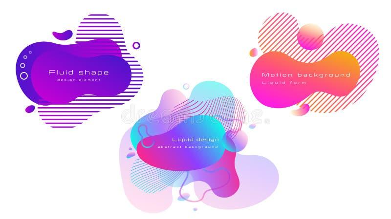 设置五颜六色的抽象液体形状 海报、横幅、飞行物或者介绍的可变的元素 皇族释放例证