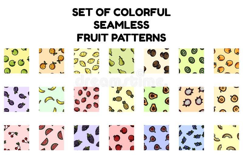 设置五颜六色的果子无缝的样式 背景纹理瓦片的平的设计收藏 向量例证