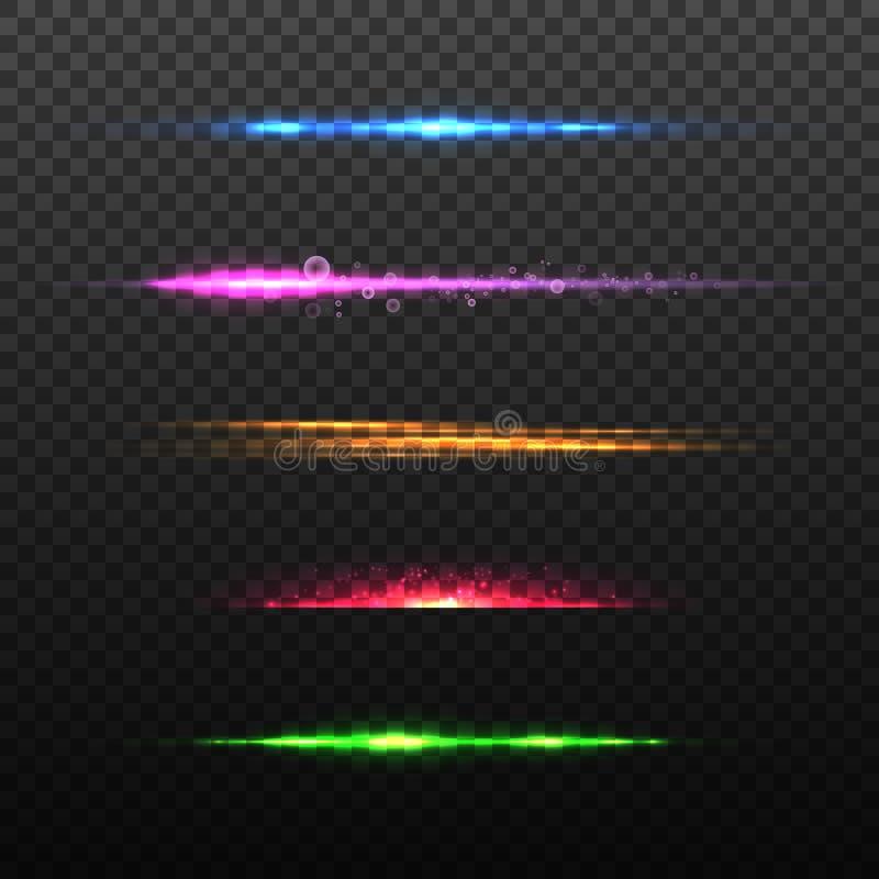 设置五颜六色的焕发光线影响 也corel凹道例证向量 皇族释放例证