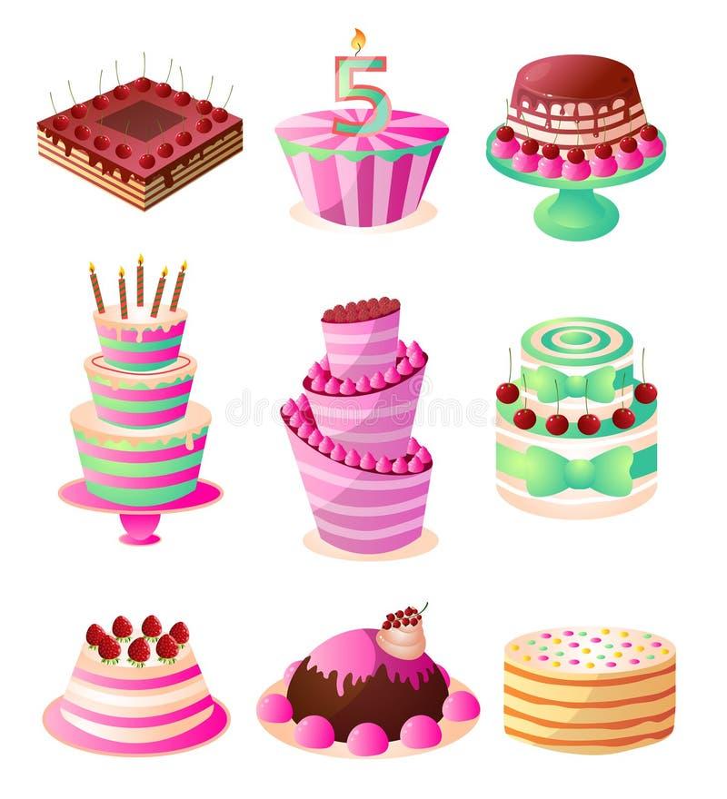 设置五颜六色的甜鲜美乳脂状的生日蛋糕 向量例证