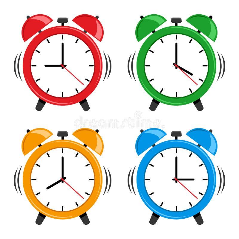 设置五颜六色的闹钟 向量 向量例证