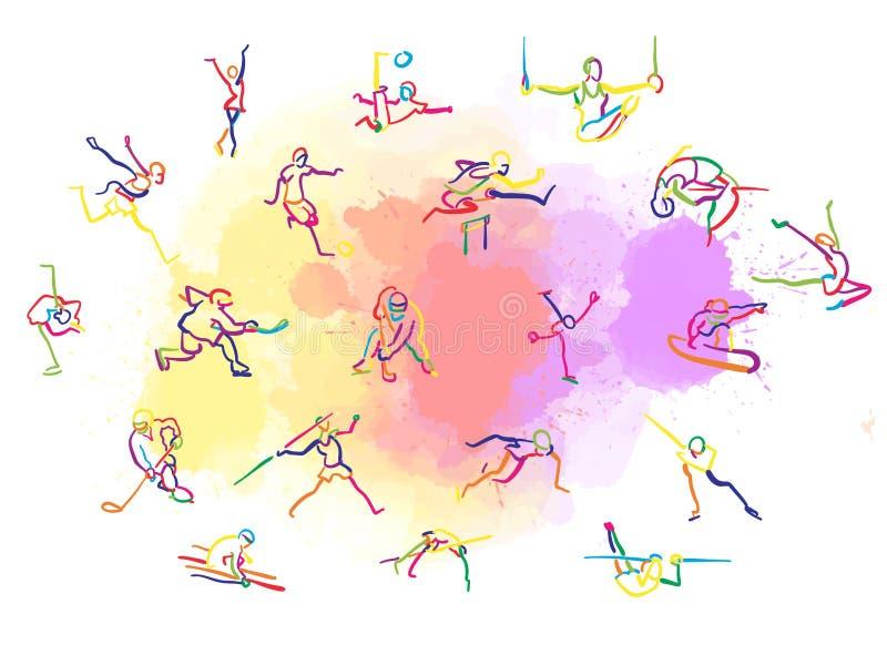 设置五颜六色的Stickman体育 库存例证