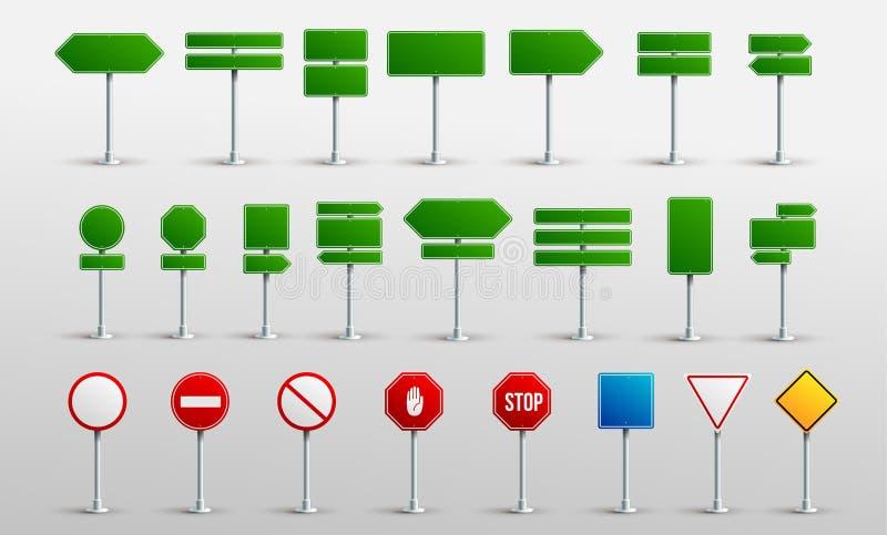 设置交通路现实标志 标志信号警报信号中止危险小心速度高速公路空的停车处街道板 皇族释放例证