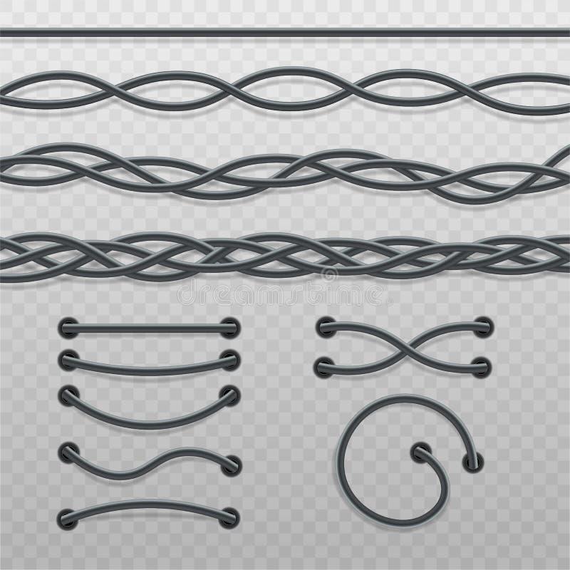 设置交错的缆绳辫子和导线针,在直线的现代电缆,弯曲的波浪和扭转 皇族释放例证