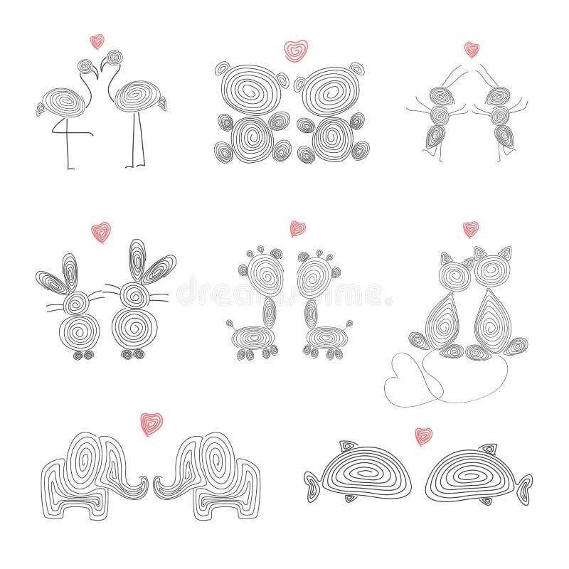 设置亲吻与心脏的逗人喜爱的动物 库存例证