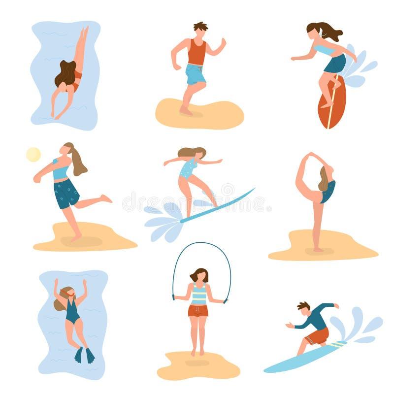 设置人字符,practic另外海滩夏天体育 皇族释放例证