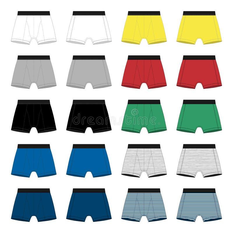 设置人拳击手短裤 在白色背景隔绝的内裤 向量例证