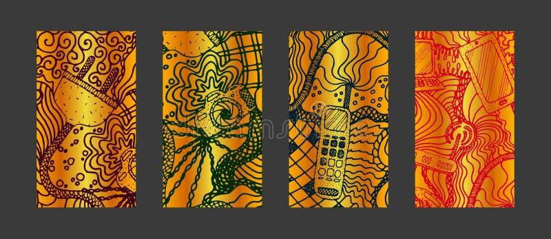 设置人脉的故事背景与手拉的元素 免版税图库摄影