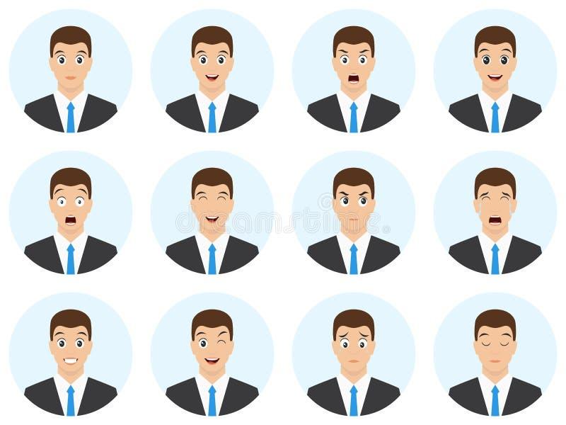 设置人面孔和不同的情感 商人卡通人物 具体化不同的表示包装 r 库存例证