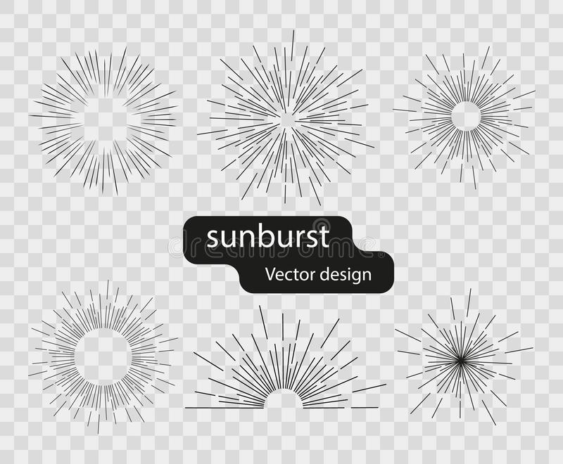 设置从简单的线的传染媒介减速火箭的太阳光线 太阳的抽象光芒 在被隔绝的背景的镶有钻石的旭日形首饰的设计元素 向量例证