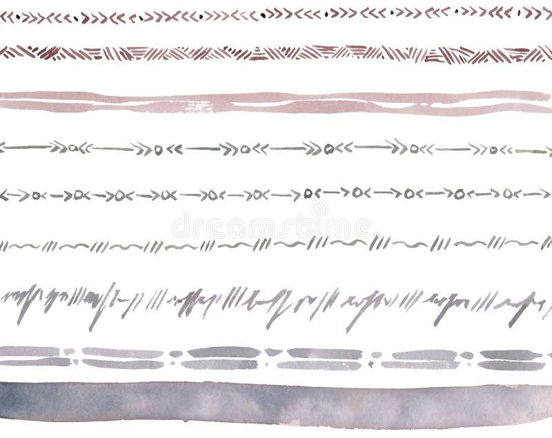 设置从装饰品的丝带 背景查出的白色 向量例证